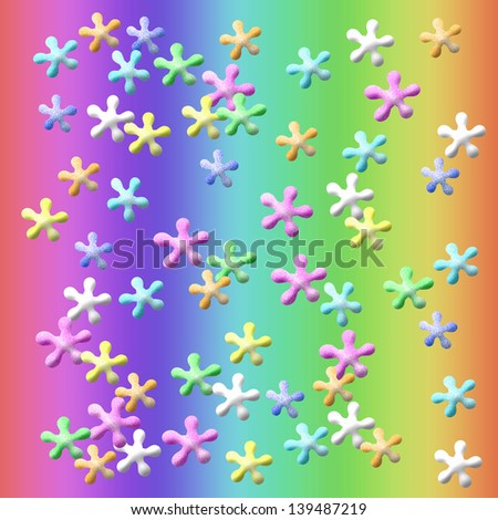 colorful jacks suspended on rainbow background illustration - stock photo