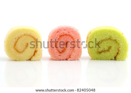 colorful jam roll isolated in white background - stock photo