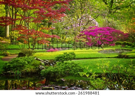 Colorful Japanese garden in spring, Den Haag, Holland, retro toned - stock photo
