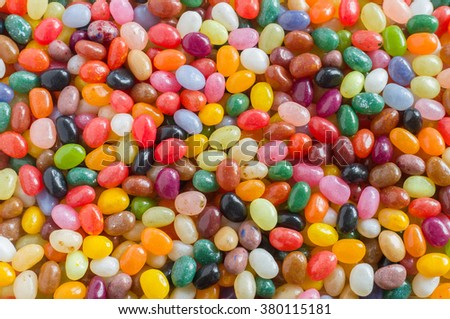 Colorful jelly beans candy background, overlook view - stock photo