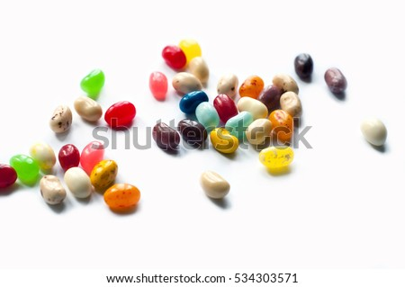 Colorful jelly beans for white background. Jellybeans isolated. Magic beans.