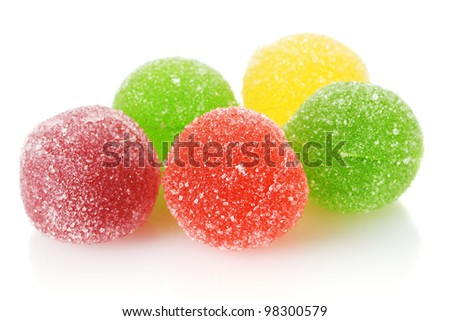 colorful jelly candies isolated on white - stock photo
