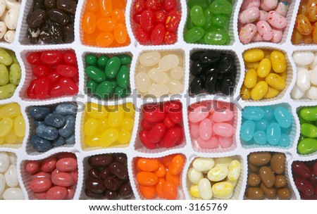 Colorful jelly candy background with many different flavors