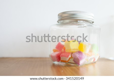 colorful jelly in the glass bottle