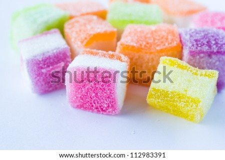 Colorful jelly on a white background - stock photo