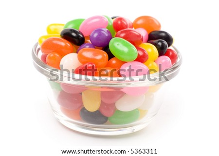Colorful jellybeans close up shot