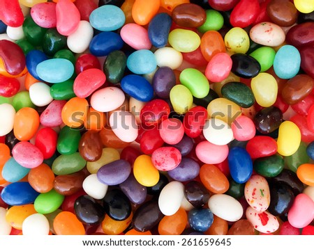 Colorful Jellybeans Easter Candy Jellybean Background - stock photo