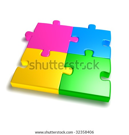 Colorful jigsaw isolated on white background
