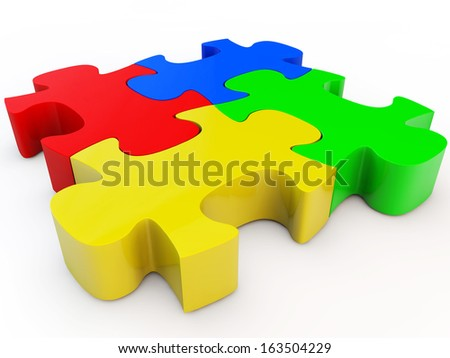Colorful jigsaw puzzle, 3d render isolated on white