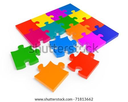 Colorful jigsaw puzzle isolated on white background - stock photo