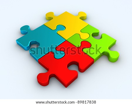 Colorful jigsaw puzzle isolated on white background