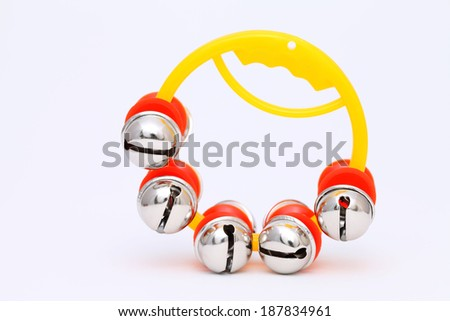 colorful jingle bell on a white background - stock photo