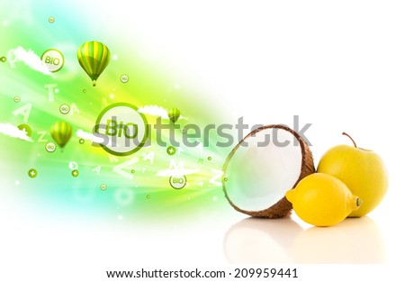 Colorful juicy fruits with green eco signs and icons on white background