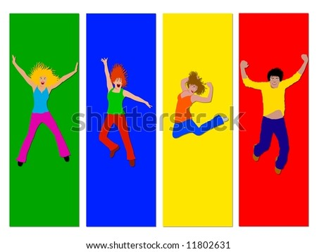 colorful jump for joy - stock photo