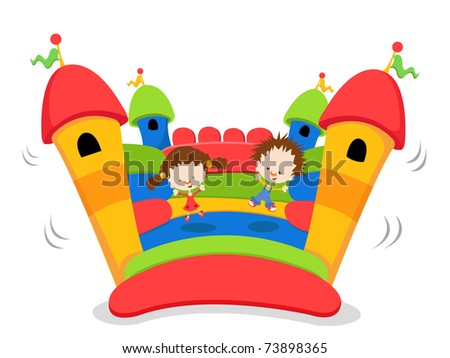 Colorful Jumping Castle - stock photo