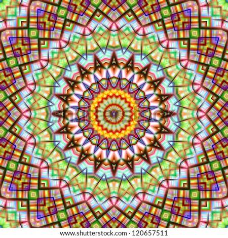 Colorful kaleidoscopic abstract circular pattern. - stock photo