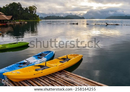 Colorful  Kayak on the lake.  - stock photo