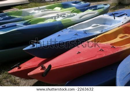 Colorful Kayaks - stock photo