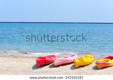 Colorful kayaks on the beach, Philippine - stock photo