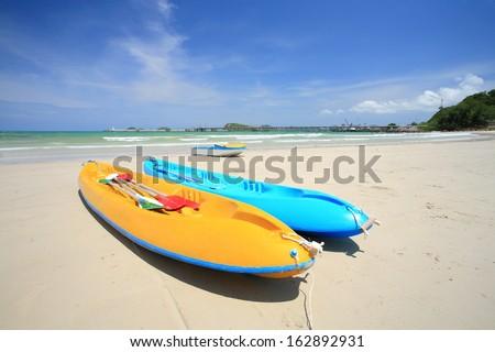 Colorful kayaks on the tropical beach, Thailand. - stock photo