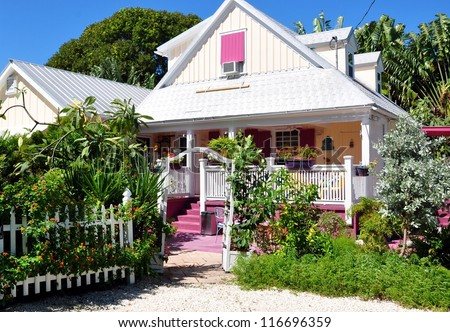 Colorful Key West Conch Cottage - stock photo