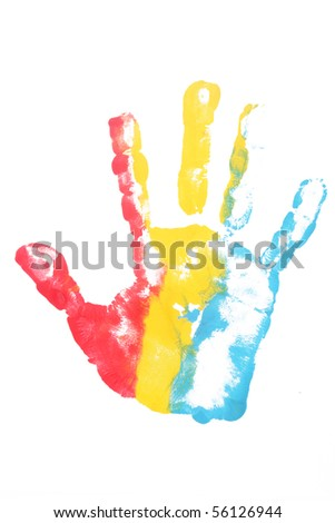 colorful kid hand print isolated