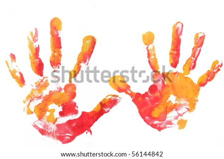 colorful kid hands isolated - stock photo