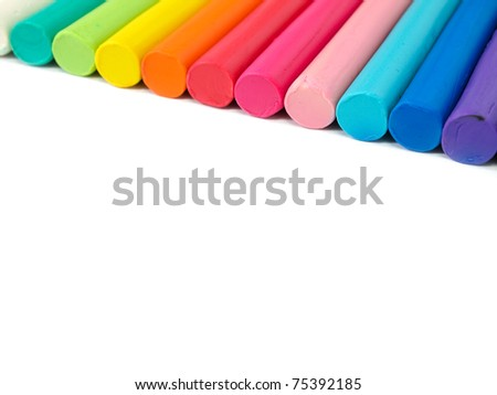 Colorful kid's plasticine  on white background, Colorful dough modeling clay - stock photo