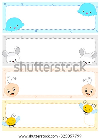 Colorful kids name tag frames with cute animal faces on corners