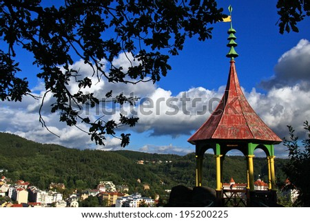 Colorful kiosk on the hills of Carlsbad - stock photo
