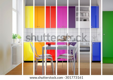 Colorful kitchen in rainbow stripes as color selection for interior design choices (3D Rendering) - stock photo