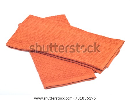Colorful kitchen towel cloth isolated on white background