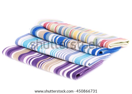 Colorful kitchen towels isolated on white background.