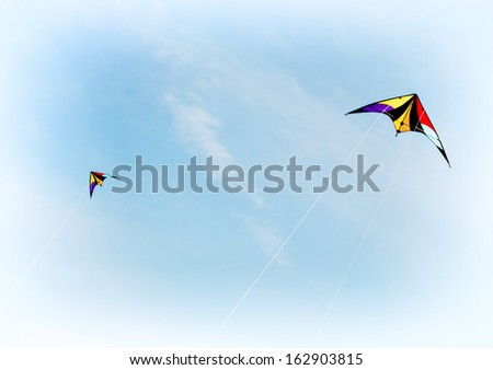 Colorful kite flying in the sky.