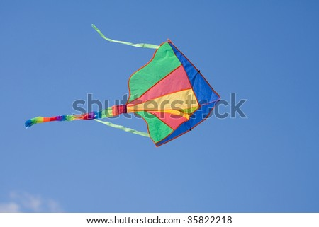 Colorful kite flying on a blue sky