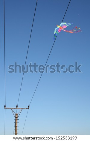 Colorful kite trapped in telegraph lines