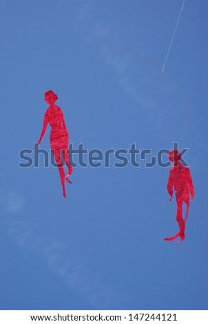 Colorful kites in sky  - stock photo