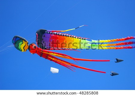 Colorful kites, Sanur, Bali, Indonesia.