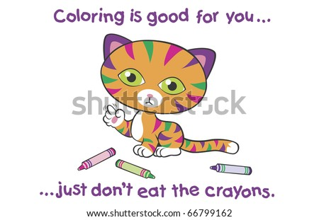 "Colorful Kitten with Crayons This image also available as vector art. Please search under ""vector only""."
