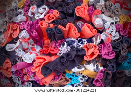 Colorful knitted cloth reuse Closeup  - stock photo