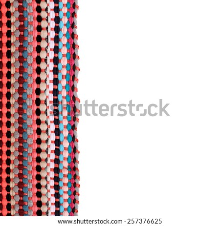 Colorful knitted cloth reuse closeup of crochet rag rug on white background this has clipping path.  - stock photo