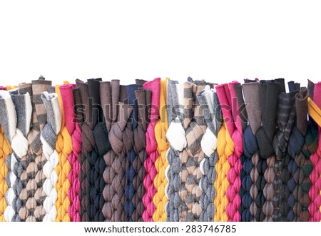 Colorful knitted cloth reuse Closeup of crochet rag rug this has clipping path.  - stock photo