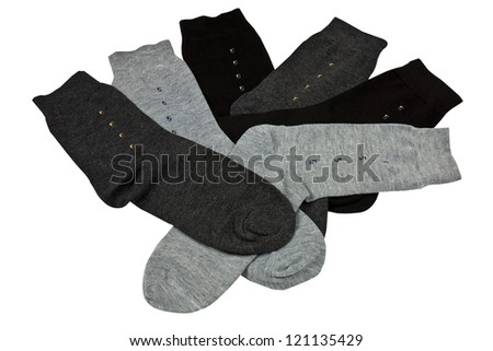 Colorful knitted mens socks isolated with clipping path - stock photo