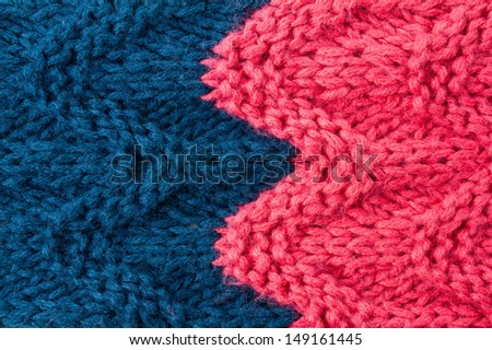 Colorful  knitting background texture pink and blue color. Knit wool Fabric textile  - stock photo