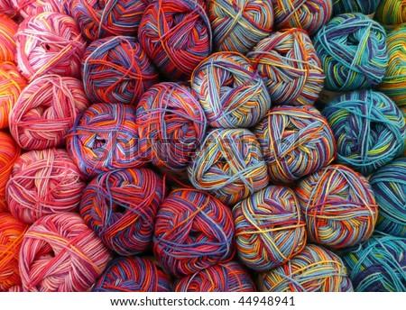 Colorful knitting yarn balls - stock photo