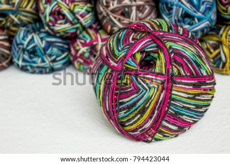 Colorful Knitting Yarn Bright Gradient Wool Stock Photo 794423044