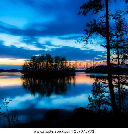 Colorful lake scenery in Finland. - stock photo
