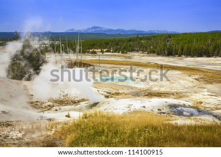 colorful land in Yellowstone National Park