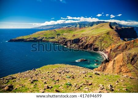 colorful landscape at Ponta do Sao Lourenco, Madeira, Portugal - stock photo