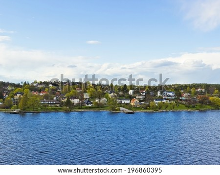 Colorful landscape of Baltic sea near coastline of Sweden - stock photo